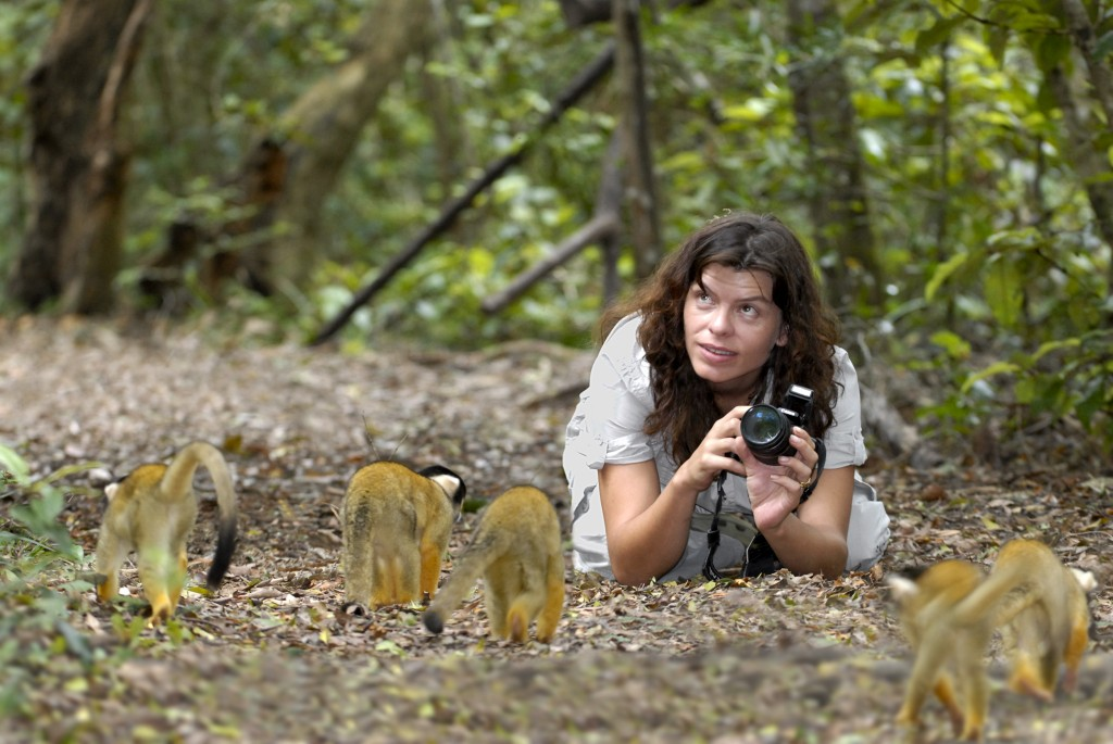 Lara photographing Squirrel Monkeys